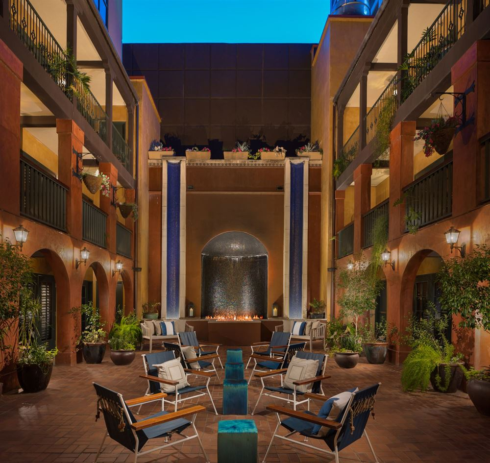 Riverwalk hotel courtyard at night