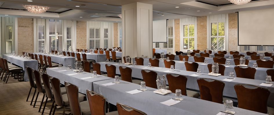 Verona Ballroom Classroom Style Meeting with Screens Hotel Valencia Riverwalk